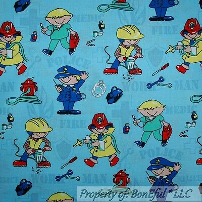 BonEful Fabric FQ Cotton Quilt Fire*Man Police Rescue 911 Dr Nurse Cop Work Hat