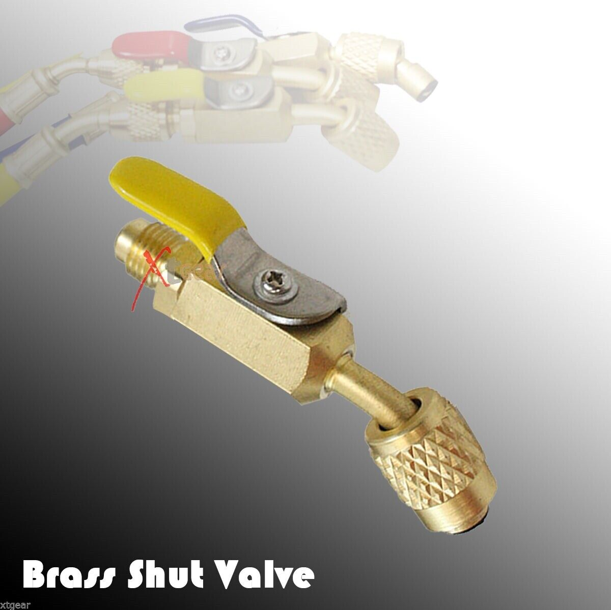 Color coded R410A Straight Ball Valve For AC Charging Hose Brass Shut Valve