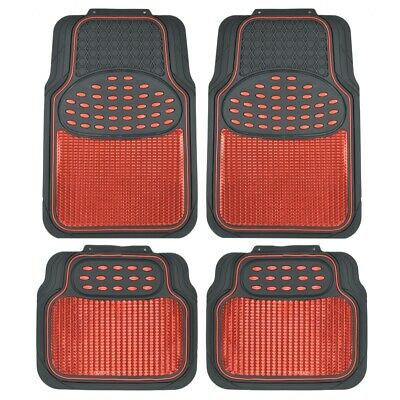 Metallic Rubber Floor Mats Red for Car SUV Truck Black Trim to Fit  4 Piece - Red Floor