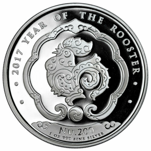 Bhutan 2017 Year of Rooster 200 Ngultrums 1oz Silver Coin,Proof With COA