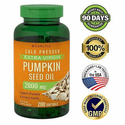 PUMPKIN SEED OIL 2000 mg 200 Softgel Capsules Prostate Function & Urinary Tract