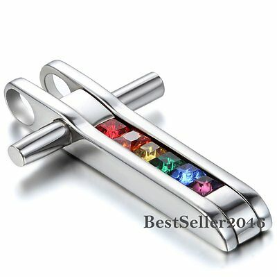 Rainbow Lesbian Gay Pride Infinity Love Cross Stainless Steel Pendant Necklace - Gay Pride Necklace