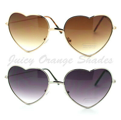 Heart Shape Sunglasses Metal Frame Cute Lovely Womens Eyewear Gold (Lovely Sunglasses)