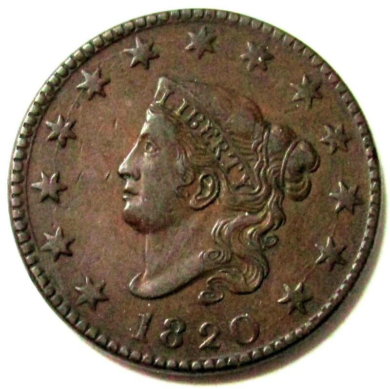 1820 BRONZE LARGE DATE MATRON HEAD LARGE CENT TYPE COIN CHOICE EXTRA FINE