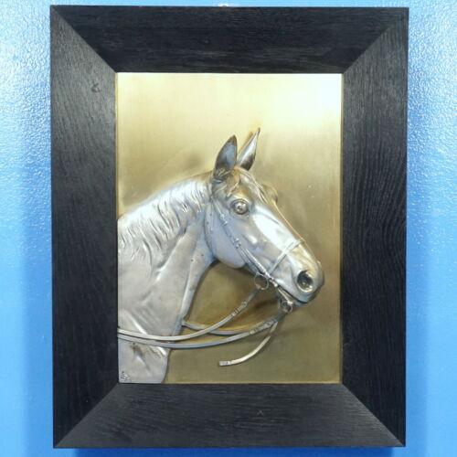 Antique Silverplate WALL PLAQUE Horse Head Oak Wood Frame 3D Relief 1936 Diller