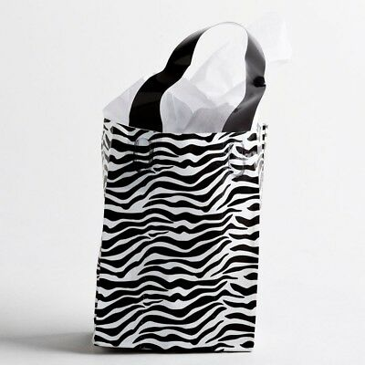 Zebra Print Frosted Plastic Handle Bags Gift Merchandise Retail 5x3x7 Lot 50