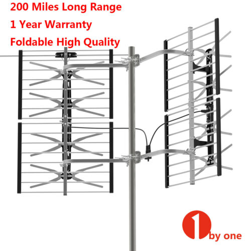 200 miles outdoor tv antenna motorized amplified