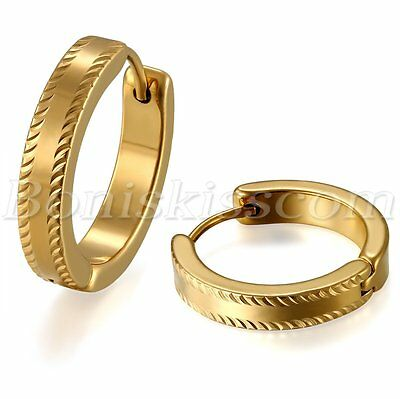 Mens Women Polished Gold Tone Stainless Steel Pierced Circle Hoop Earrings Studs
