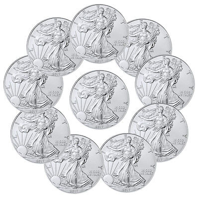 2017 1 Troy oz. American Silver Eagle - Lot of 10 Coins SKU44364