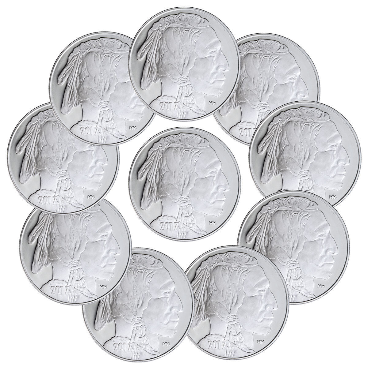 2017 highland mint 1 oz silver american indian buffalo round lot of Liberty Silver Dollar Value Chart 2017 highland mint 1 oz silver american indian buffalo round lot of 10 sku45377