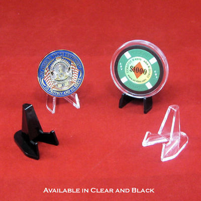 Small Plastic Easel Display Stands for Challenge Coins&Casino Chips-Choose Qty.