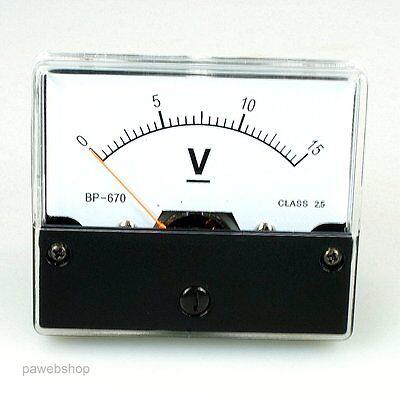 Voltmeter 15V Spannungsmesser analog Einbaumessinstrument 15V DC Gleichspannung