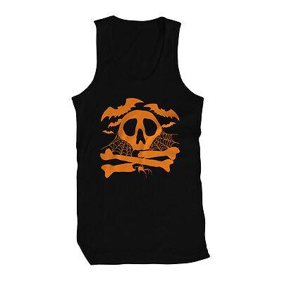 Skull Crossbones Bats Cobwebs Happy Halloween Spooky Paranormal Mens Tank Top](Happy Halloween Skull)