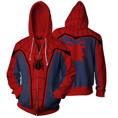 Mens Homecoming (SPIDERMAN Homecoming Mens Zipper Casual Hoodie Jacket Coat short sleeve Cosplay)