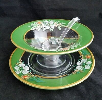 BEAUTIFUL VINTAGE SET HAND PAINT ELEGANT GLASS MAYONNAISE BOWL PLATE AND  LADEL -