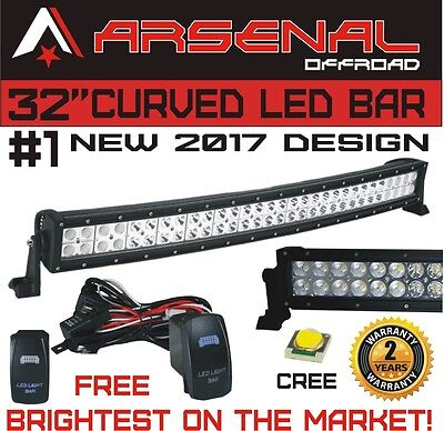 """No1 32"""" Curved Arsenal Offroad LED Light Bar 30"""" of LED's Flood/Spot Combo Beam"""