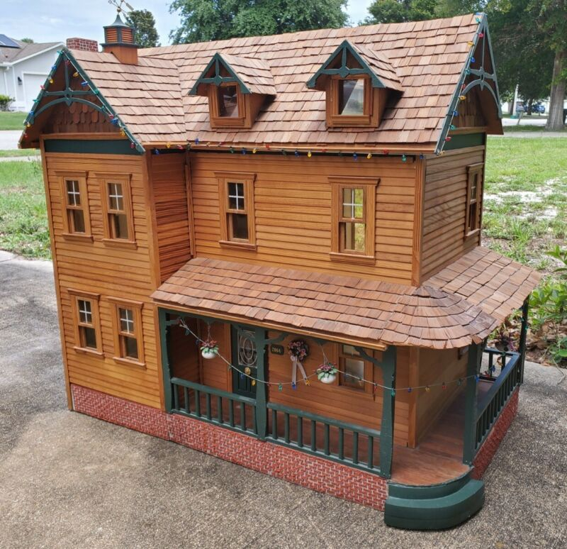 DOLLHOUSE Large Vintage Custom-Built ONE OF A KIND! Hand-Made Crafted 1:12 Scale