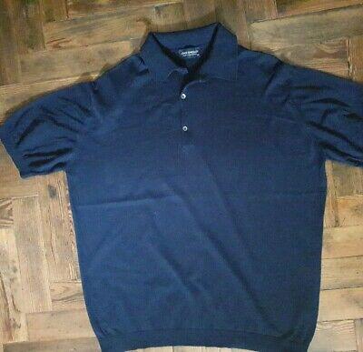 JOHN SMEDLEY ADRIAN Mens Navy Blue 100% Cotton Short Sleeved Shirt Size XXL