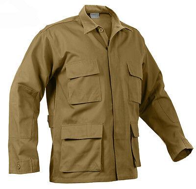 Brown Bdu Shirt (Coyote Brown BDU Shirt Military Style 4 Pocket Coat Jacket Rothco)