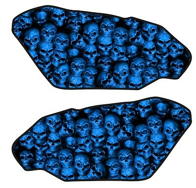 Motorcycle Side Gas Tank Pad 3D Gel Skull Wall Blue Protector Side Guard