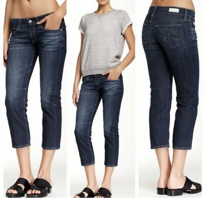 Relaxed Fit Crop - AG Adriano Goldschmied The Tomboy Crop Relaxed Fit Denim Dark Blue Jean Size 28