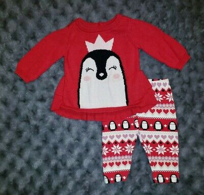 VGUC The Childrens Place Baby Girl Clothes 0-3 Months 2 Piece Penguin Outfit Set