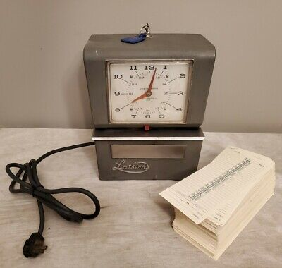 Vintage Lathem Punch Time Clock Model 4054x401 Wkey Blank Time Cards Works