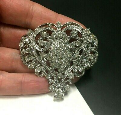 Vintage Style Clear RHINESTONE Ornate HEART Brooch Pin Silver Tone Wedding - Vintage Style Bridal Brooch