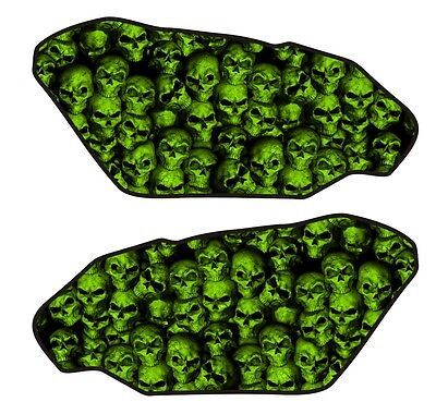 Motorcycle Side Gas Tank Pad 3D Gel Dome Skull Wall Green Protector Side Guard