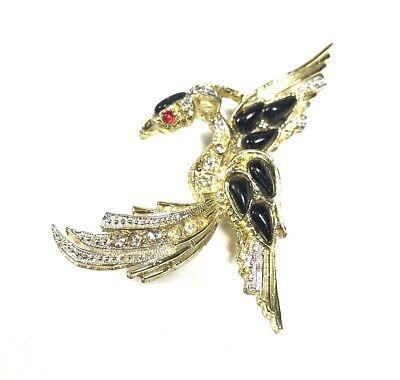 Vintage Brooch Pin Gold Tone Birds Of Paradise Rhinestone Black Cabochon Pheonix](Pheonix Costume)