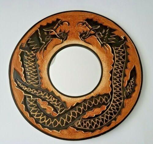 Fantasy Magical Mythical Dual Dragons Wall Mount Mirror Wall Art Hanging Decor
