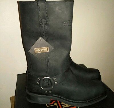 (Harley-Davidson Men's Bowden 9.5 M Black Harness Style Motorcycle Boots D93477)