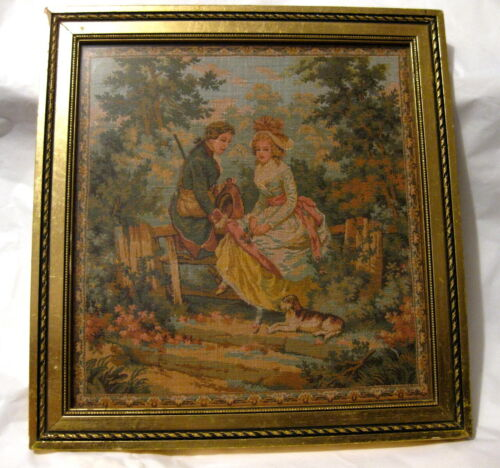 Antique Framed Needlepoint Tapestry~18th Century Courting Couple w/ Dog~Lovely