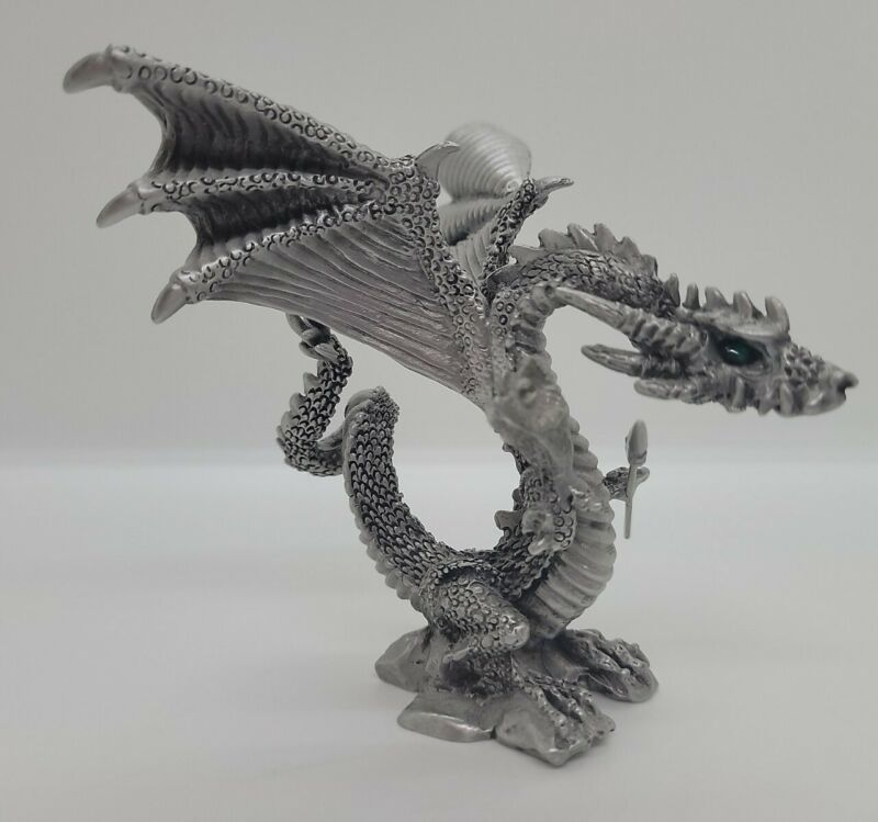 Vintage Rawcliff Pewter Dragon With Spear Swarvoski Crystals 1999 Made in USA