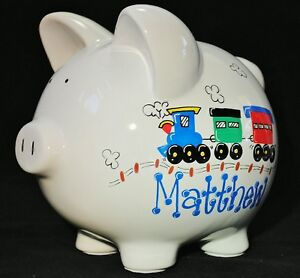 Hand-Painted Personalized Large Ceramic Train Piggy Bank