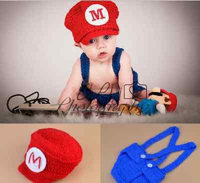 Newborn Baby Girls Boys super mario Crochet Knit Costume Photography Outfits (Mario Girls Costume)