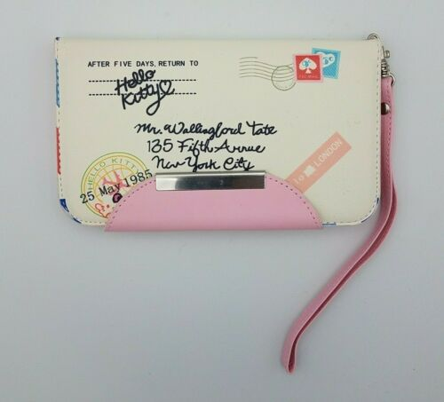 Hello Kitty Flip Phone Leather Case Wristlet Wallet Clutch Purse White & Pink