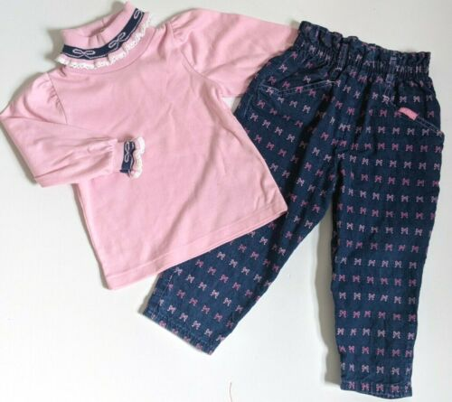 Vintage OshKosh 3T Girls Denim Jeans + Turtleneck SET Outfit Pink Bows USA Rare