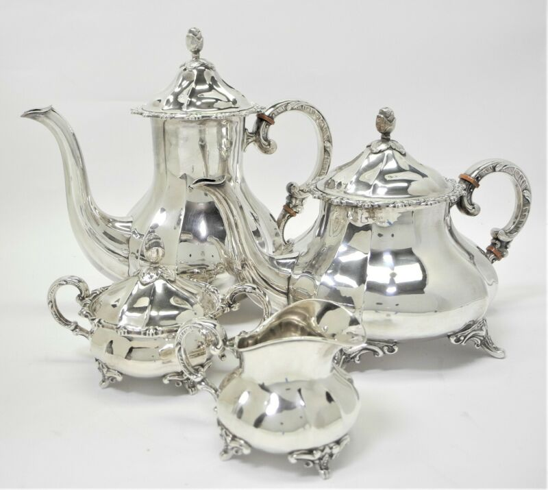Vintage FERNER 4 Piece Sterling Silver COFFEE & TEA SET 2300 grams