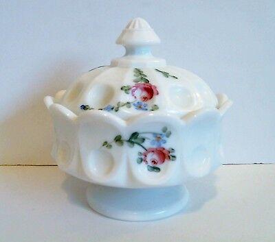 Westmoreland Honey Bowl HP Roses Elegant Thumbprint Milk Glass Scarce c 1950