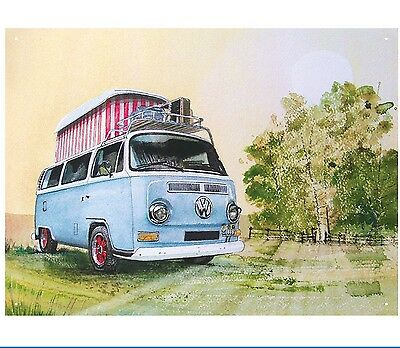 VW Bay Window Camper - official licensed product Metal Sign. Water Colour