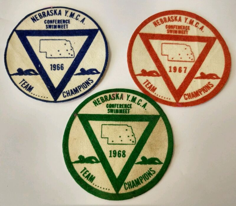 1960s Vintage Nebraska YMCA Swim Meet Conference Team Champion Patch Lot