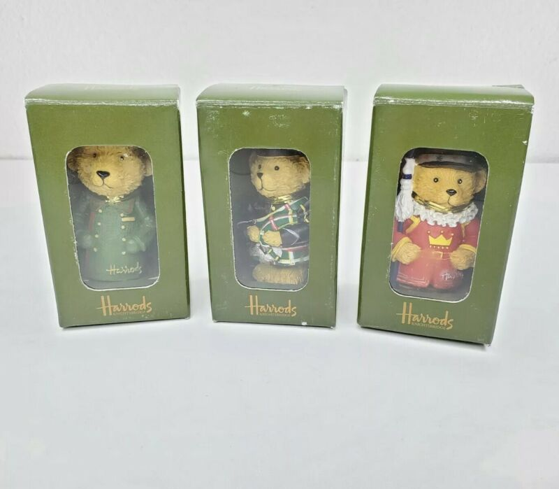 Lo of 3 Harrods Bears Christmas Tree Ornaments Beefeater Piper Beefeater London