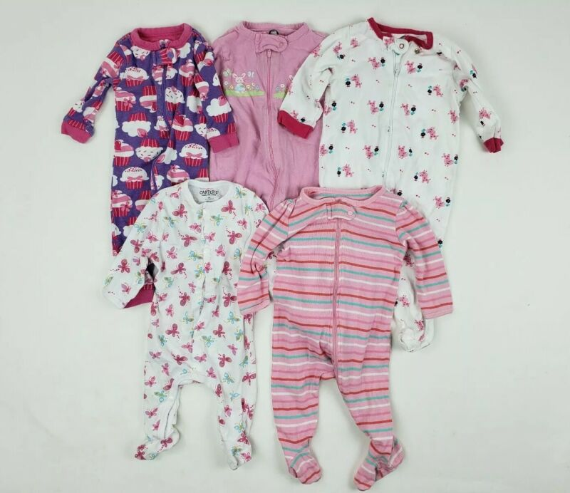 3-6 Months Girl Sleeper Lot Gerber Carters Place Circo Footed Baby Clothes Pink