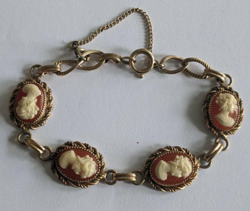Vintage Gold Filled Carved Shell Cameo Bracelet