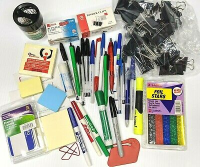 Huge Lot Office Supplies Binder Paper Clips Name Badges Expos Pens Post It Notes
