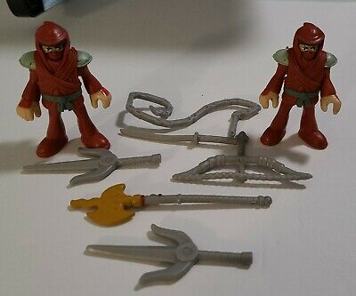 LOT of (2) Fisher Price IMAGINEXT Red NINJA Figure Weapons ACCESSORIES & HOOD