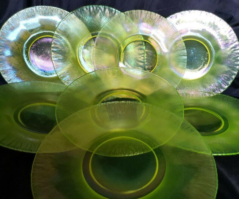 """(10) Fenton USA Topaz Iridescent Vaseline Stretch Glass Plates  8""""Glows under UV"""