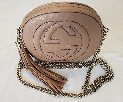 dae5fdaf841cd6 Gucci Soho Leather Mini Cross-Body Disco Chain Bag Camelia 353965 A7M0G 2754