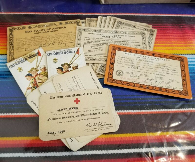 Vtg BOY SCOUTS of America Merit Badge Red Certificates Chicago Illinois 1940
